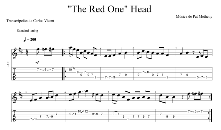 The Red One - Pat Metheny Tab