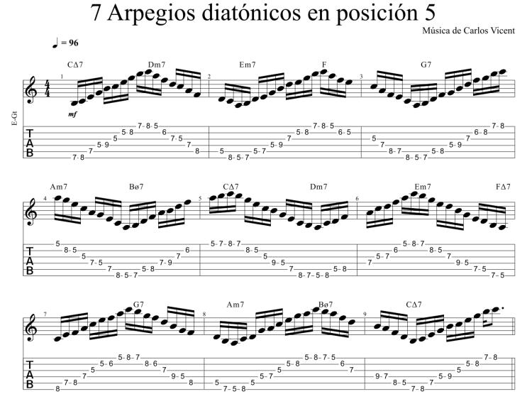 7 arpegios diatónicos en posición 5