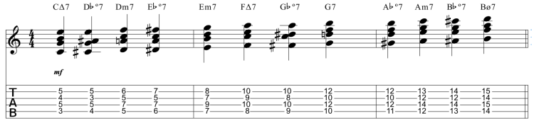 Enlace de acordes diatónicos mediante º7