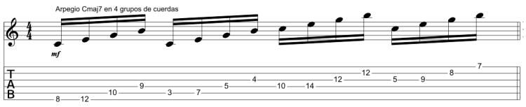 Arpegio Cmaj7 en 4 grupos de cuerdas.png